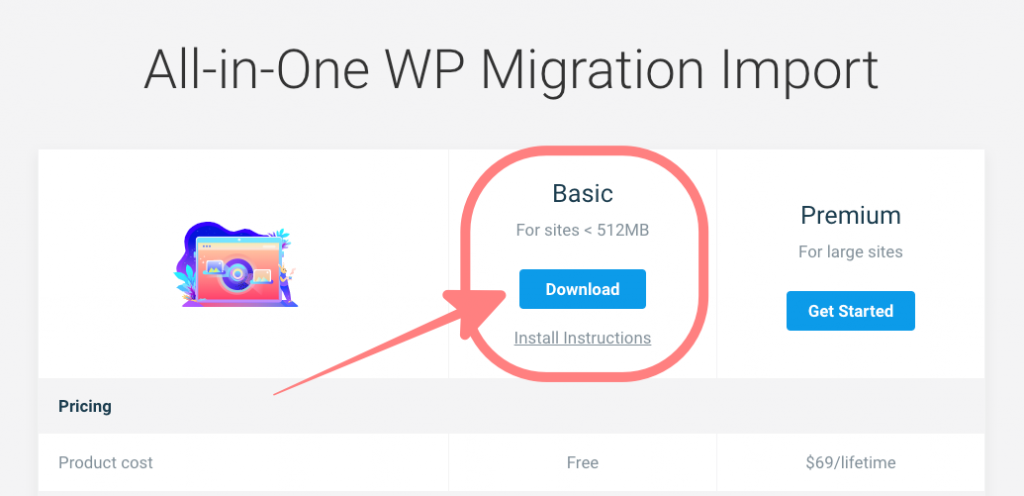 all-in-one WP Migration Import スクリーンショット