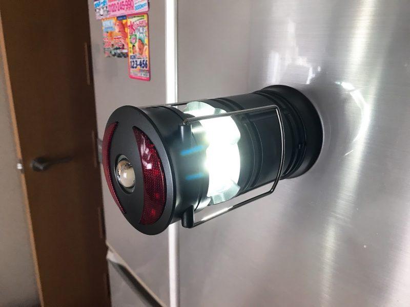 冷蔵庫に貼ってLEDランタン点灯